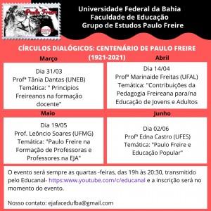Programação Centenário Paulo Freire_ FACED_UFBA